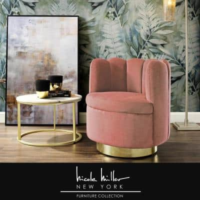 Stefan Blush/Gold Velvet Accent Chair with Upholstered Armless