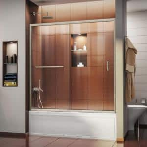 Infinity-Z 56 to 60 in. x 58 in. Semi-Frameless Sliding Tub Door in Brushed Nickel