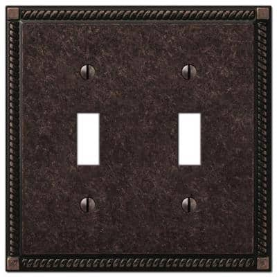 Georgian 2 Gang Toggle Metal Wall Plate - Tumbled Aged Bronze