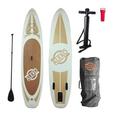 11 ft. Wood Grained Inflatable Paddle Board with Carry Bag