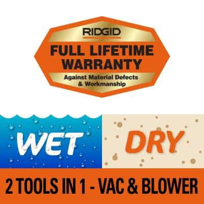4 Gallon 6.0-Peak HP Wet/Dry Shop Vacuum with Detachable Blower, Fine Dust Filter, Hose and Accessories