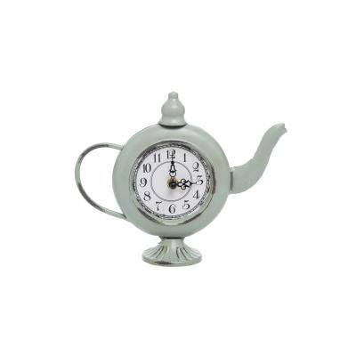 Distressed Green Metal Teapot Battery Operated Table Clock