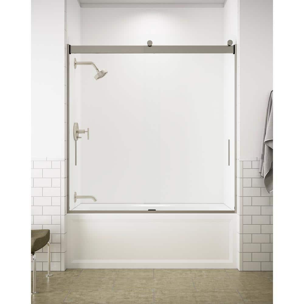 Kohler Levity 59 In X 62 In Semi Frameless Sliding Tub Door In Nickel With Handle K 706000 L Mx The Home Depot