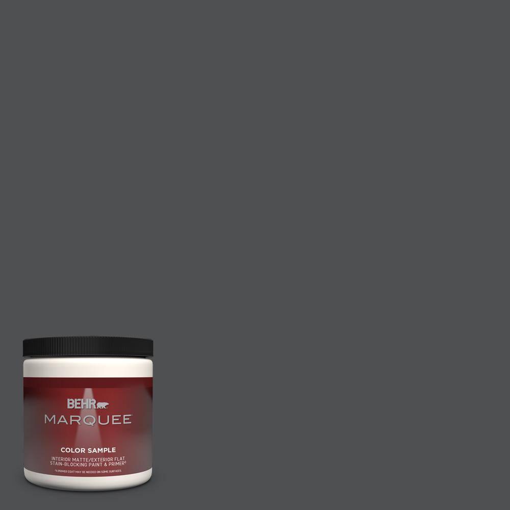 Behr Marquee 8 Oz Ppu26 01 Satin Black Matte Interior Exterior Paint Primer Sample Mq30316 The Home Depot
