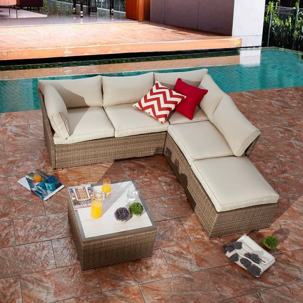 Patio Festival 4 Piece Wicker Outdoor Sectional Set With Beige Cushions Pf18211 The Home Depot
