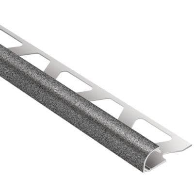 Rondec Pewter Textured Color-Coated Aluminum 3/8 in. x 8 ft. 2-1/2 in. Metal Bullnose Tile Edging Trim