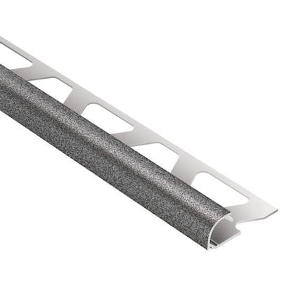 Rondec Pewter Textured Color-Coated Aluminum 5/16 in. x 8 ft. 2-1/2 in. Metal Bullnose Tile Edging Trim