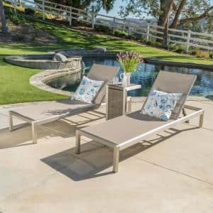 Valentina Silver Adjustable 3-Piece Metal Outdoor Chaise Lounge Set