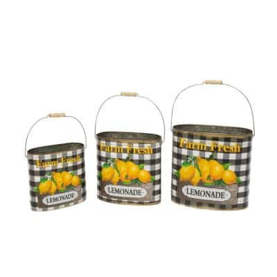 "Assorted Metal Nesting ""Farm Fresh Lemonade"" Decorative Buckets, Set of 3"