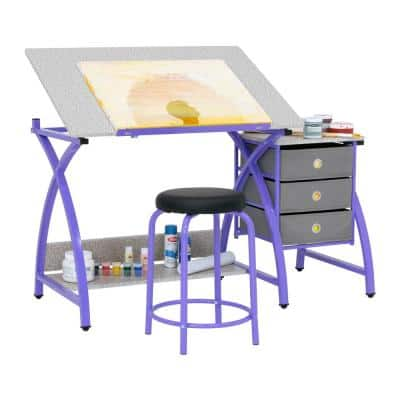 Comet 50 in. W x 23.75 in. D x 29.5 in. H MDF Craft Table with Adjustable Top, 3 Pull-Out Drawers and Stool, Purple