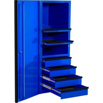 EXQ 24 in. 4-Drawer 2-Shelf Blue Professional Side Tool Chest with Black Handles