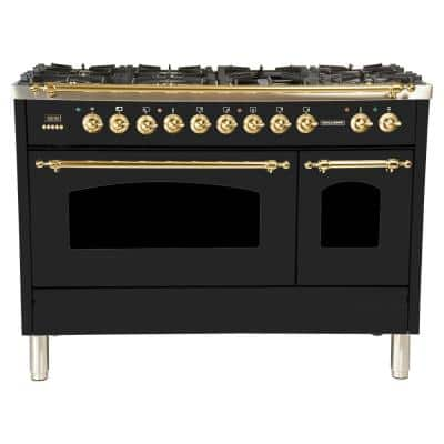 48 in. 5.0 cu. ft. Double Oven Dual Fuel Italian Range True Convection, 7 Burners, Griddle, Brass Trim in Glossy Black