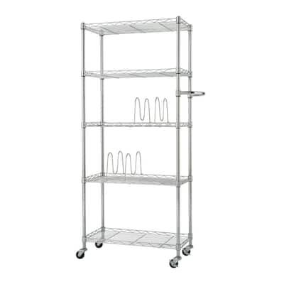 5-Shelf Steel Pantry Organizer with Shelf Dividers