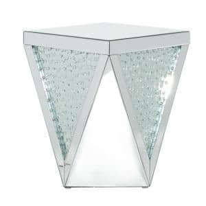 Silver MDF Glam Accent Table