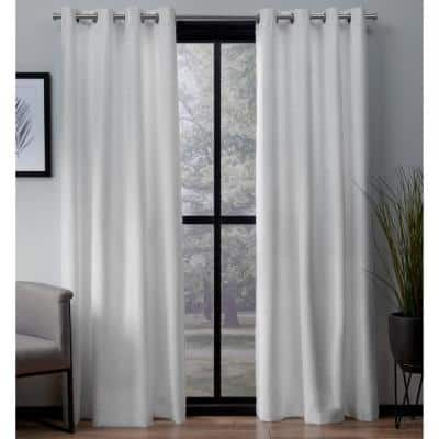 Winter White Woven Thermal Blackout Curtain - 54 in. W x 84 in. L (Set of 2)
