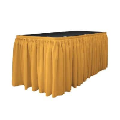 14 ft. x 29 in. Long Gold Polyester Poplin Table Skirt with 10 L-Clips