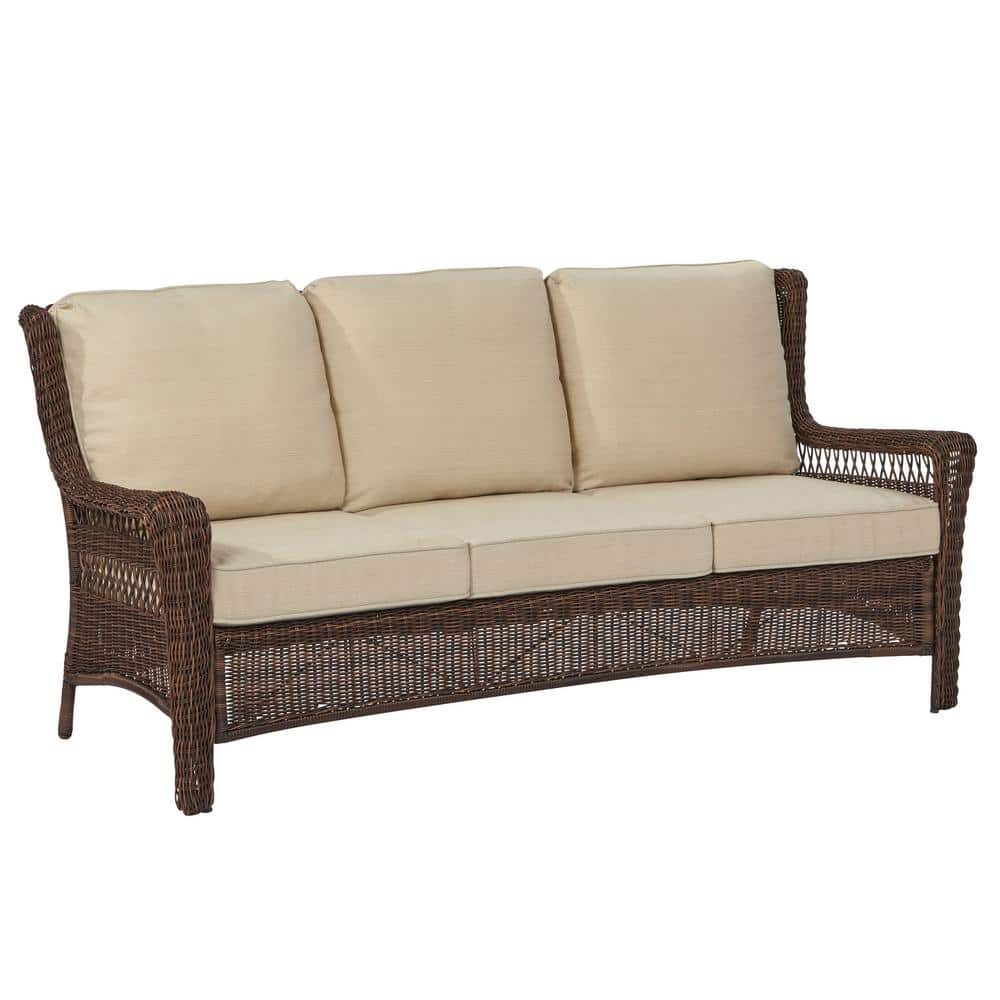 Hampton Bay Park Meadows Brown Wicker Outdoor Sofa With Beige Cushion 65 21459 The Home Depot