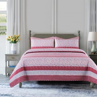 Stripe 2-Piece Rose Microfiber Twin Quilt Set