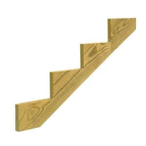 4-Step Ground Contact Pressure Treated Pine Stair Stringer