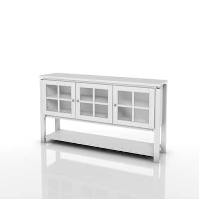 Tymon White Buffet Server With 3-Cabinet Doors