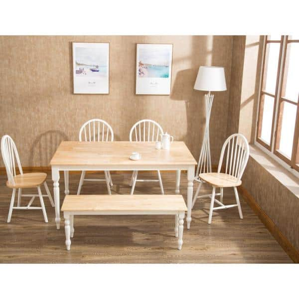Boraam White And Natural Farmhouse Dining Table 70369 The Home Depot