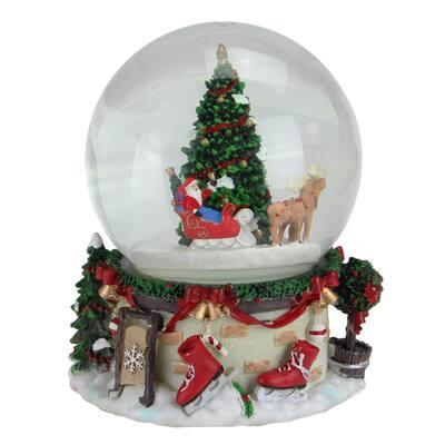 6.75 in. Christmas Musical and Animated Santa on Sleigh Rotating Water Globe