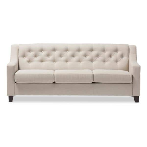 Baxton Studio Arcadia 77.4 in. Light Beige Polyester 4-Seater Bridgewater Sofa with Square Arms | The Home Depot