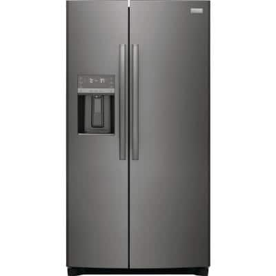 22.3 cu. ft. 36 in. Counter Depth Side by Side Refrigerator in Smudge-Proof Black Stainless Steel