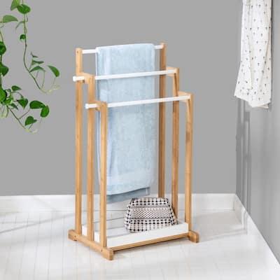 33.10 in L x 13.8 in W x 17.7 in D 3-Tier Bamboo White Bathroom Towel Rack in Brown
