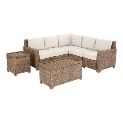 Laguna Point 5-Piece Natural Tan Wicker Outdoor Patio Sectional Sofa with CushionGuard Almond Tan Cushions