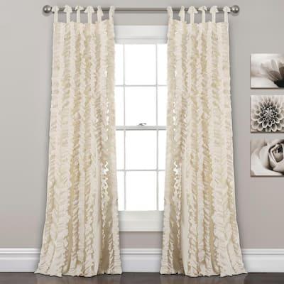 Ivory Solid Tie Top Room Darkening Curtain - 40 in. W x 84 in. L (Set of 2)