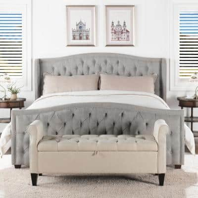 Marcella Silver Gray King Upholstered Bed