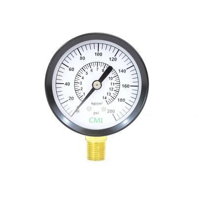 0 - 200 psi 2.5 in. Dial 1/4 in. Brass NPT Pressure Gauge (10-Pack)