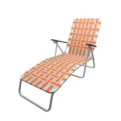 Classic Webbed Orange Folding Chaise Lounger Camp/Lawn Chair
