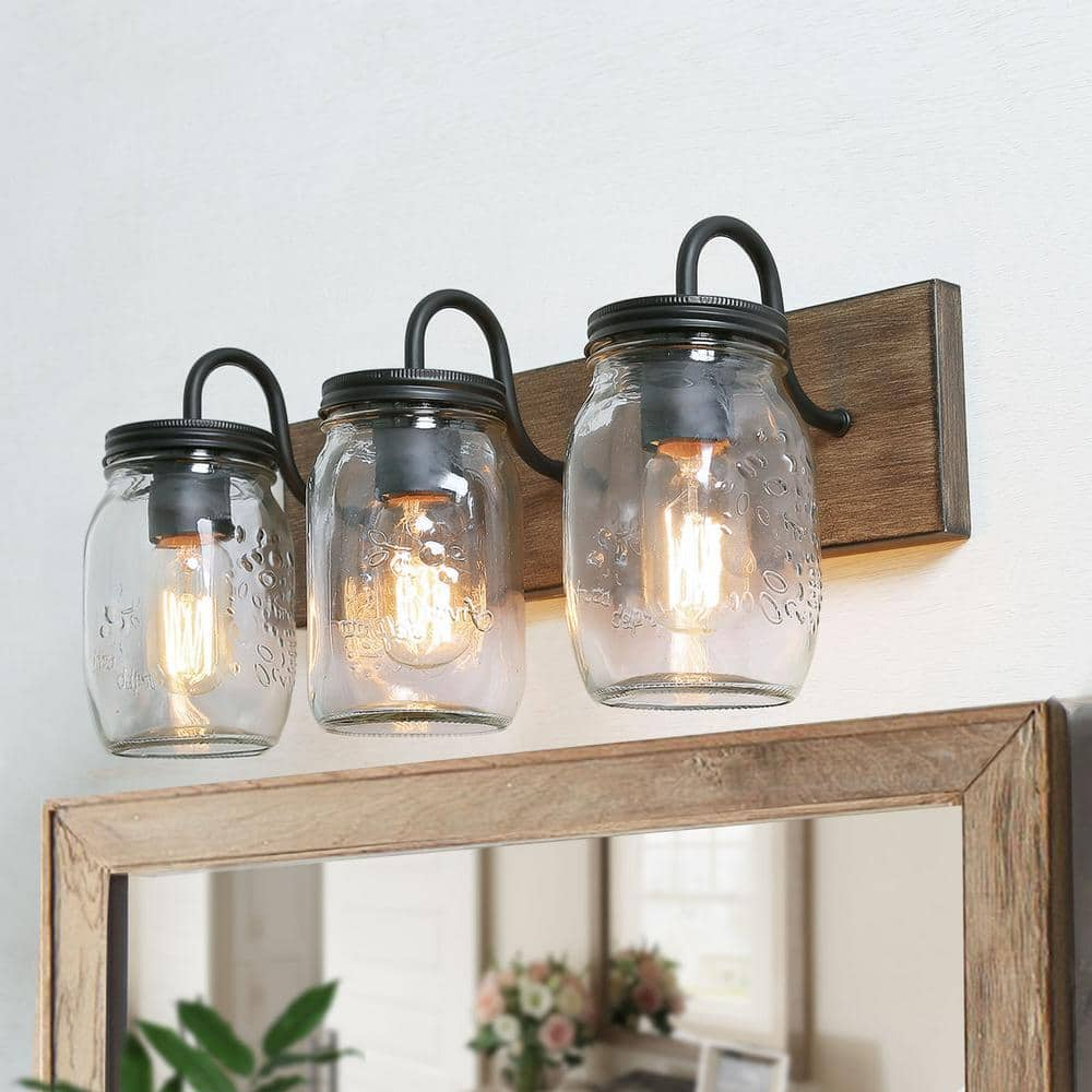 Lnc Farmhouse Bathroom Vanity Light 3 Light Dimmable Powder Room Wall Sconce With Faux Wood Accents Clear Mason Jar Shades Ir2irzhd13551p6 The Home Depot