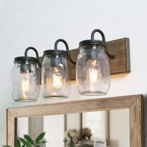 Farmhouse Bathroom Vanity Light 3-Light Dimmable Powder Room Wall Sconce with Faux Wood Accents Clear Mason Jar Shades