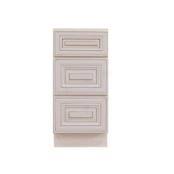 Lifeart Cabinetry Princeton Assembled 12 X 21 X 33 In Bath Vanity Cabinet Only With 3 Drawers In Creamy White Glazed Apcw Vdb12 3 The Home Depot