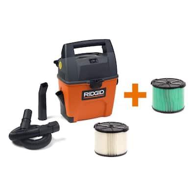 3 Gal. 3.5-Peak HP Portable Wet/Dry Shop Vacuum with Built-in Dust Pan, Filter, HEPA Media Filter, Hose and Car Nozzle
