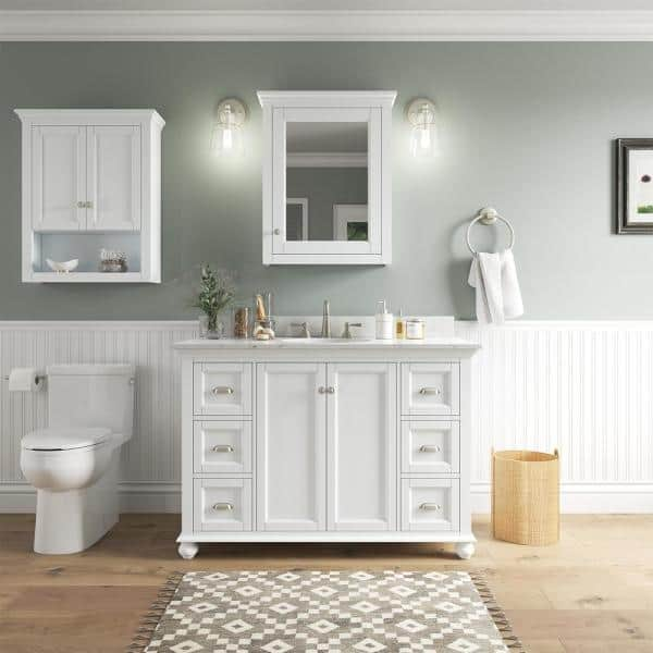 Home Decorators Collection Lamport 26, White Beadboard Bathroom Wall Cabinet
