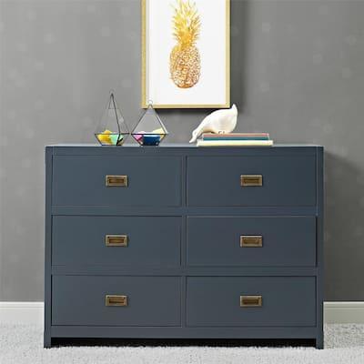 Mylan 6-Drawer Graphite Blue Wood Dresser 45 in. L x 18.75 in. W x 33 in. H