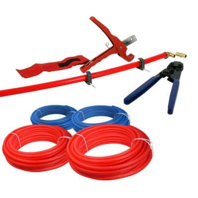 1/2 in. and 3/4 in. x 500 ft. PEX Tubing Plumbing Kit-Crimper Cutter Tools Tubing Elbow Cinch Half Clamp-1 Red 1 Blue
