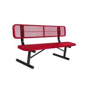 Portable 8 ft. Red Diamond Commercial Park Bench with Back
