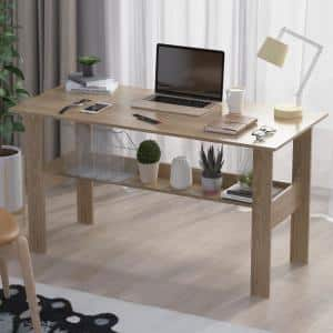 47.2 in. Rectangle Natural Wood With Shelf Computer Desk Writing Desk Study Table Modern Home Office