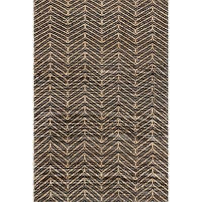 Shelby Hand Loomed Jute Chevron Natural 8 ft. x 10 ft. Indoor Area Rug