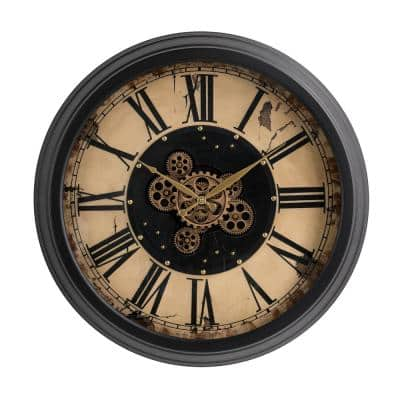 27.50 in. D Oversized Vintage Round Gear Clock with Tempered Glass