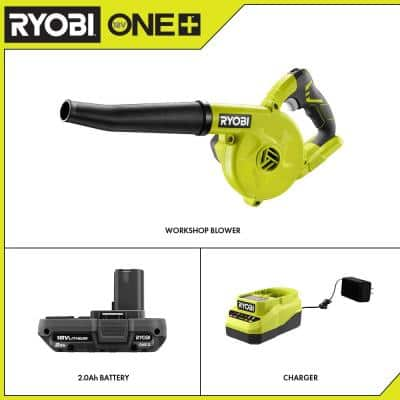 ONE+ 18V Cordless Compact Workshop Blower with 2.0 Ah Battery and Charger
