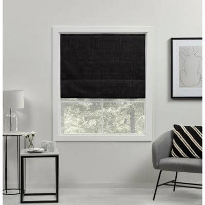 Acadia Black Cordless Total Blackout Roman Shade 27 in. W x 64 in. L
