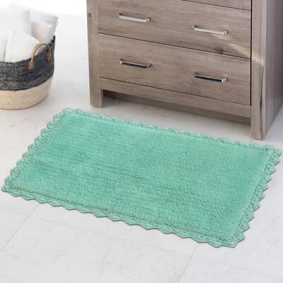 Aqua 34 in. x 21 in. Blue Crochete Bath Mat