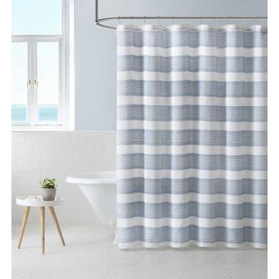 Island Stripe 1-Piece Blue Cotton Blend Shower Curtain 72 in. x 72 in.