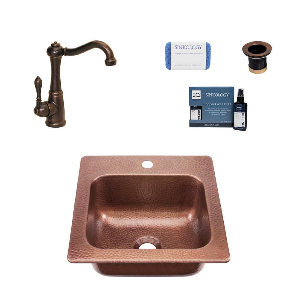 sinkology seurat 18 gauge copper 15 in 1 hole drop in bar sink with pfister bronze faucet and drain kpd 1515ha gt7 the home depot